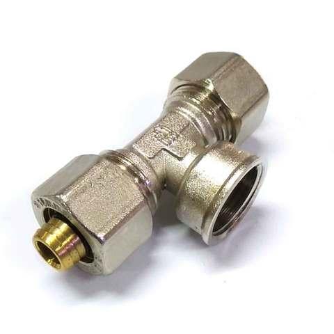Тройник  для металлопластиковых труб  разборной 16*1/2*16  внутренняя резьба  SD Forte