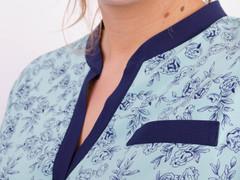 Аврора. Комбінована блуза великих розмірів. М'ята+квіти.