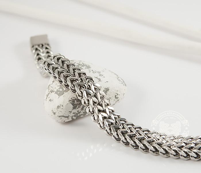 BM376 Массивный мужской браслет цепь необычного плетения (23 см) фото 04