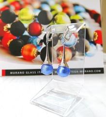 Серьги из муранского стекла голубые Paola Sapfir 056A