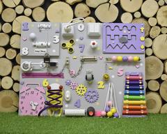 Бизиборд стандарт 50х65 см с ксилофоном Фиолетово-Розово-Желтый для девочки