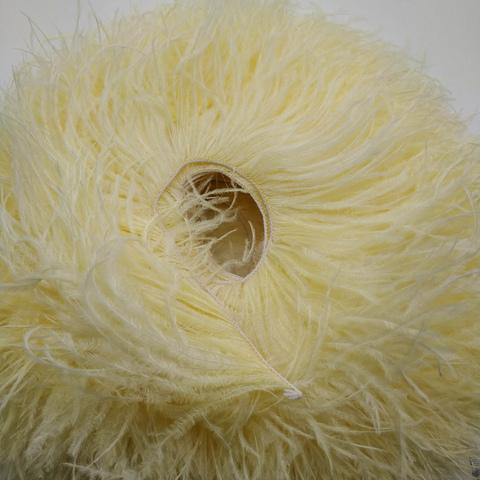 Премиум Тесьма  из перьев страуса на нитке в 2 слоя h 10-15 см., Насыщенный айвори (10 метров)