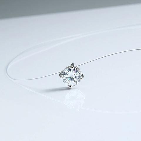 42018- Фианит в 4х лапках на леске-невидимке с серебряными замочками