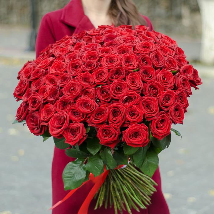 101 красная роза Пермь купить доставка круглосуточно акция