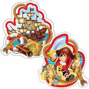 Подвеска бумажная Веселый Пират-спираль 16см 4шт
