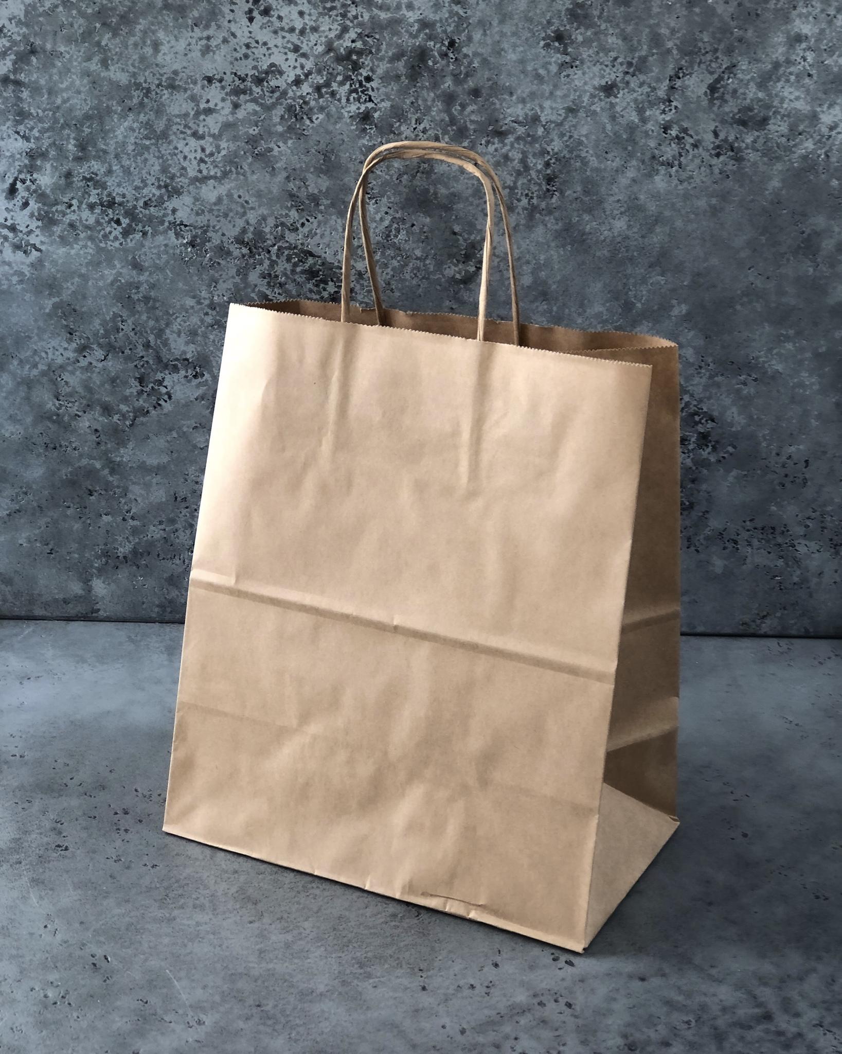 Пакет средний КРАФТ без печати, 24х14х28 см