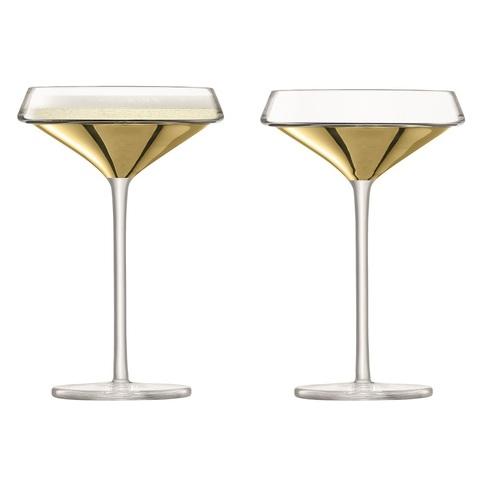 Набор из 2 бокалов-креманок для шампанского Space, 240 мл, золото