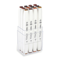 Touch Twin Brush набор маркеров для скетчинга 12 шт в кейсе - двусторонние спиртовые кисть/долото (древесные)