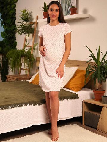 Мамаландия. Сорочка для беременных и кормящих с горизонтальным секретом, сердечки/белый