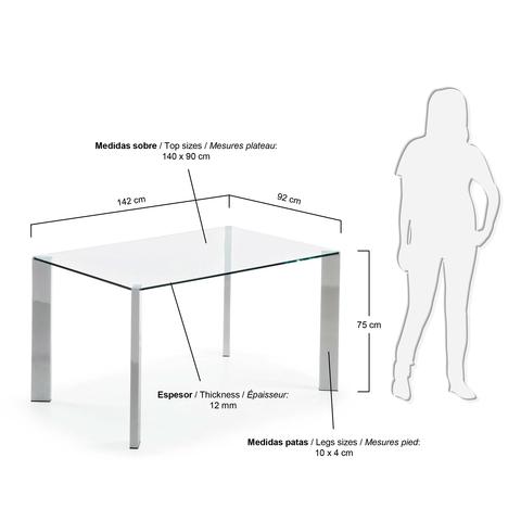 Стол стеклянный Corner хром