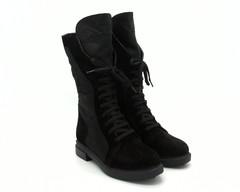 Черные зимние ботинки из натурального нубука