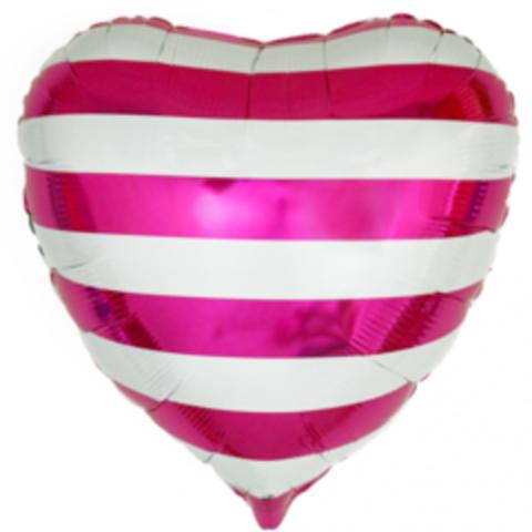 Сердце, Розовые полосы, 18''/46 см, CTI, 1 шт.