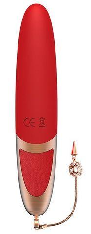 Красный вибромассажер DYSIS BRIGHT - 12,6 см.
