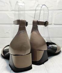 Кожаные босоножки на каблуке. Женские босоножки с закрытой пяткой Derem 602-464-7674 Beige Black.