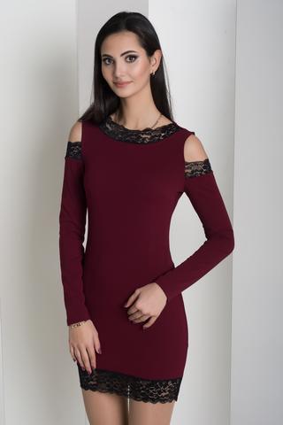 Ажур. Молодіжна сукня з мереживом. Бордо