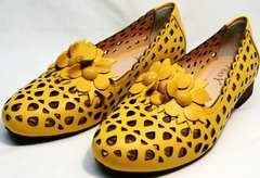 Легкие женские туфли босоножки женские кожаные без каблука Phany 103-28 Yellow.