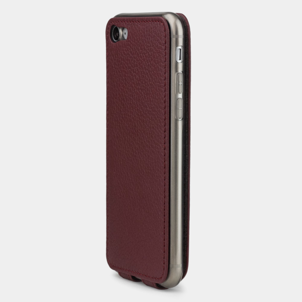 Чехол для iPhone SE/8 из натуральной кожи теленка, бордового цвета