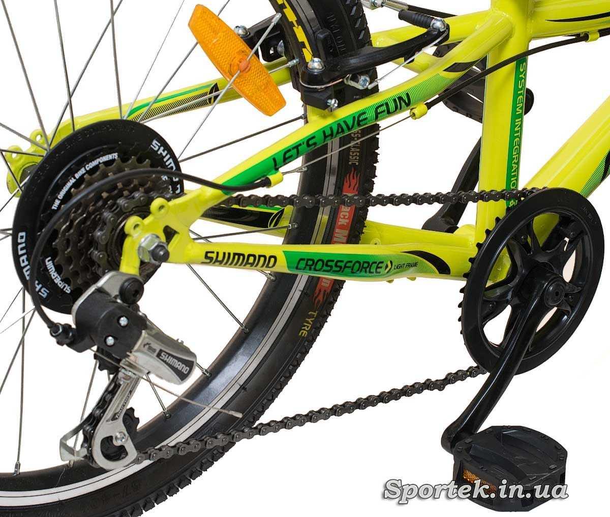 Трансмісія гірського дитячого велосипеда Formula Lime