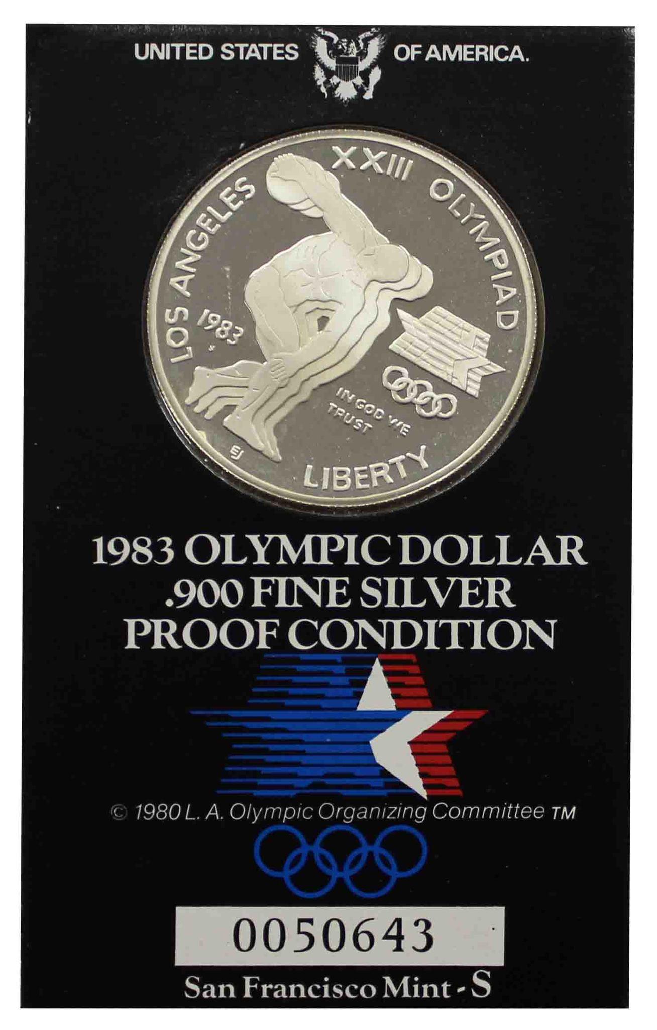 """1 доллар 1983 """"XXIII летние Олимпийские Игры 1984 в Лос-Анджелесе"""""""