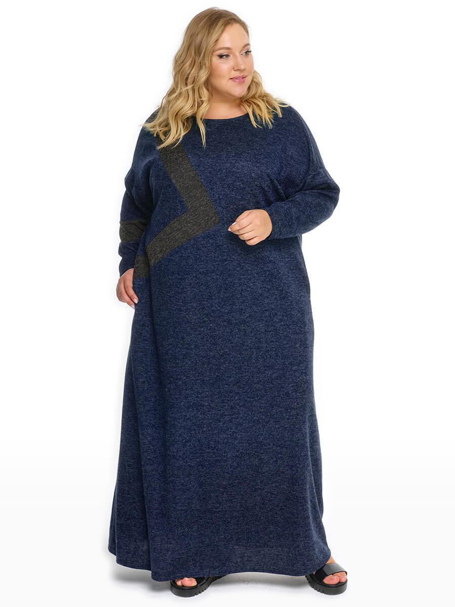 Платье с асимметричной темно-серой отделкой