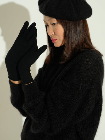 Женский джемпер черного цвета из мохера и шерсти - фото 3