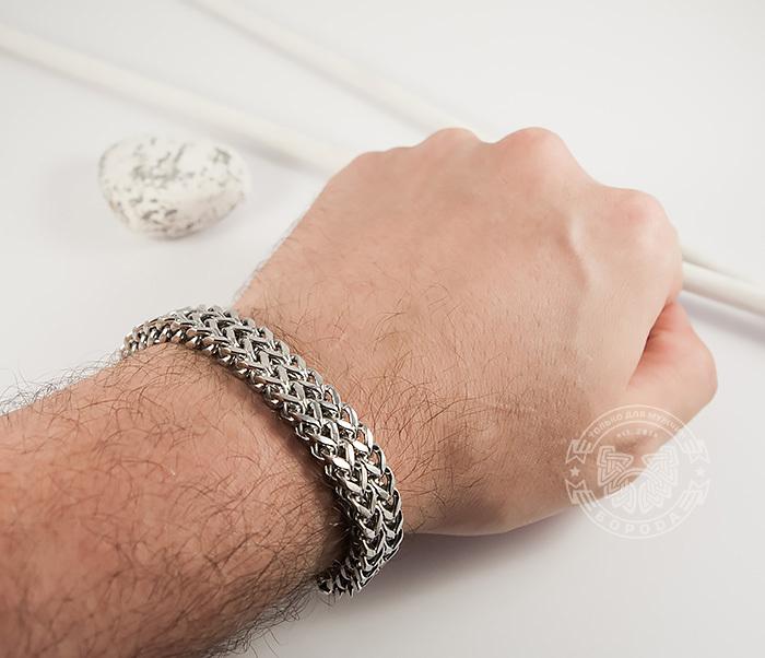 BM376 Массивный мужской браслет цепь необычного плетения (23 см) фото 07