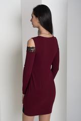 Ажур. Молодежное платье с кружевом. Бордо