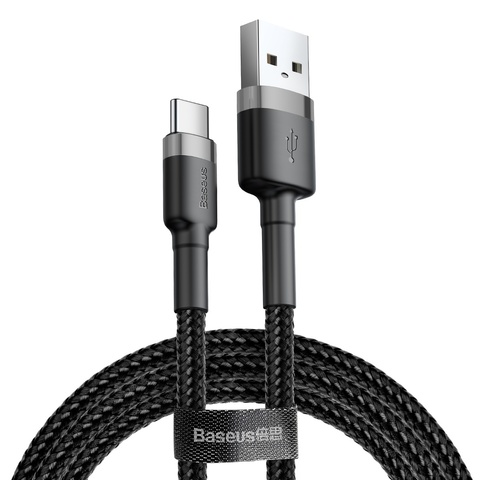 Кабель Baseus cafule Cable USB For Type-C 3A 1M Gray+Black