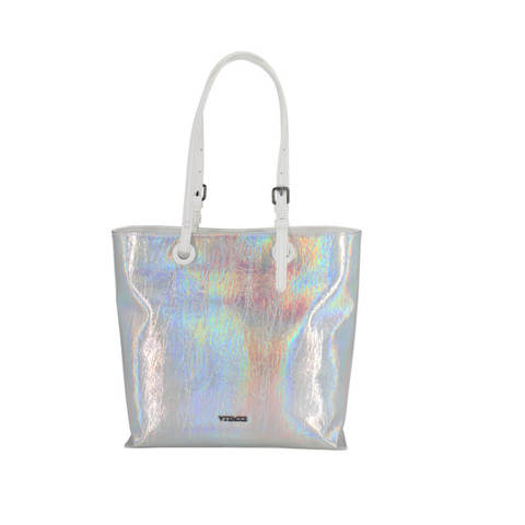 Серебристая голограммная сумка-шоппер