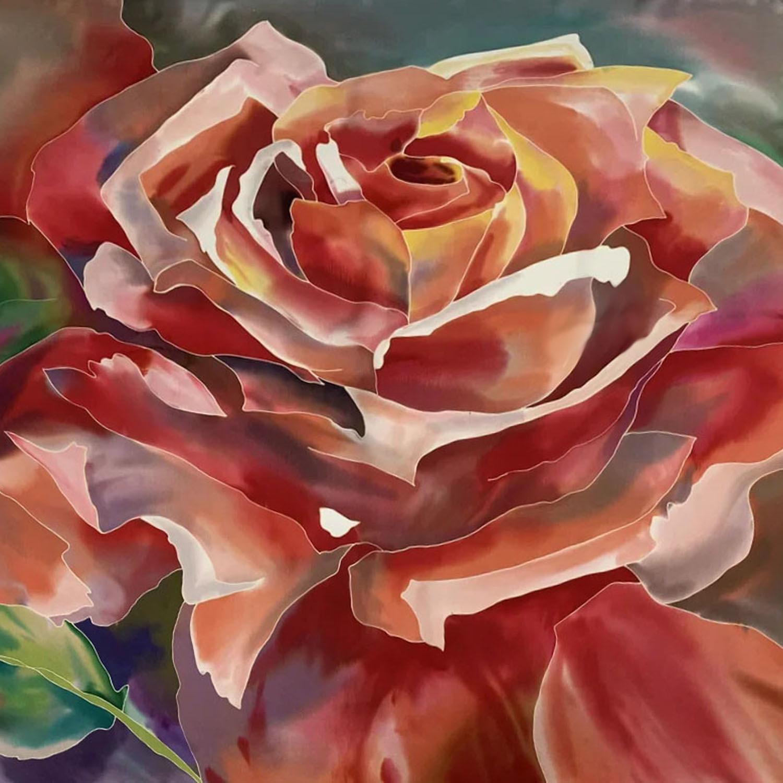Шелковый платок батик Роза закат