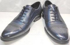 Оксфорд туфли под синий костюм Ikoc 3805-4 Ash Blue Leather.