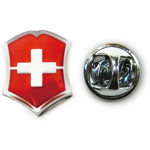 Значок Victorinox в форме креста на щите, металлический, красно-серебристый