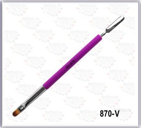 Кисть для геля с лопаточкой GELLAKTIK Фиолетовая 870-V