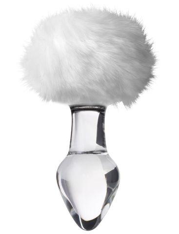 Стеклянная анальная втулка с белым хвостиком - 14 см.