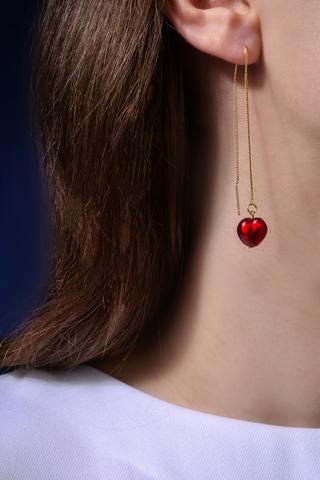 Серьги из муранского стекла на цепочке с бусиной в виде сердца Long Cuori Rubino