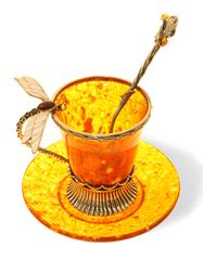 """Кофейная янтарная чашечка в наборе с блюдцем и ложечкой, серия """"Летнее настроение"""""""