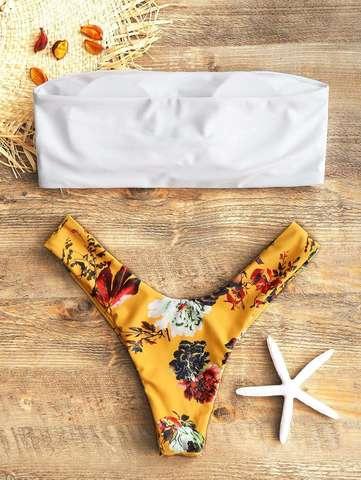 купальник раздельный бандо белый желтый цветочный 2