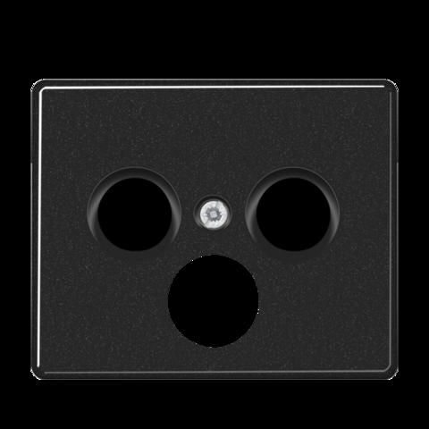 Накладка  тройная для антенных розеток. Цвет Чёрный. JUNG SL. SL561SATSW