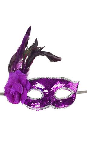 Маска карнавальная пайетки с пером