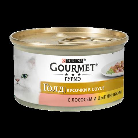 Gourmet Gold Консервы для кошек с Лососем и цыпленком , Кусочки в соусе