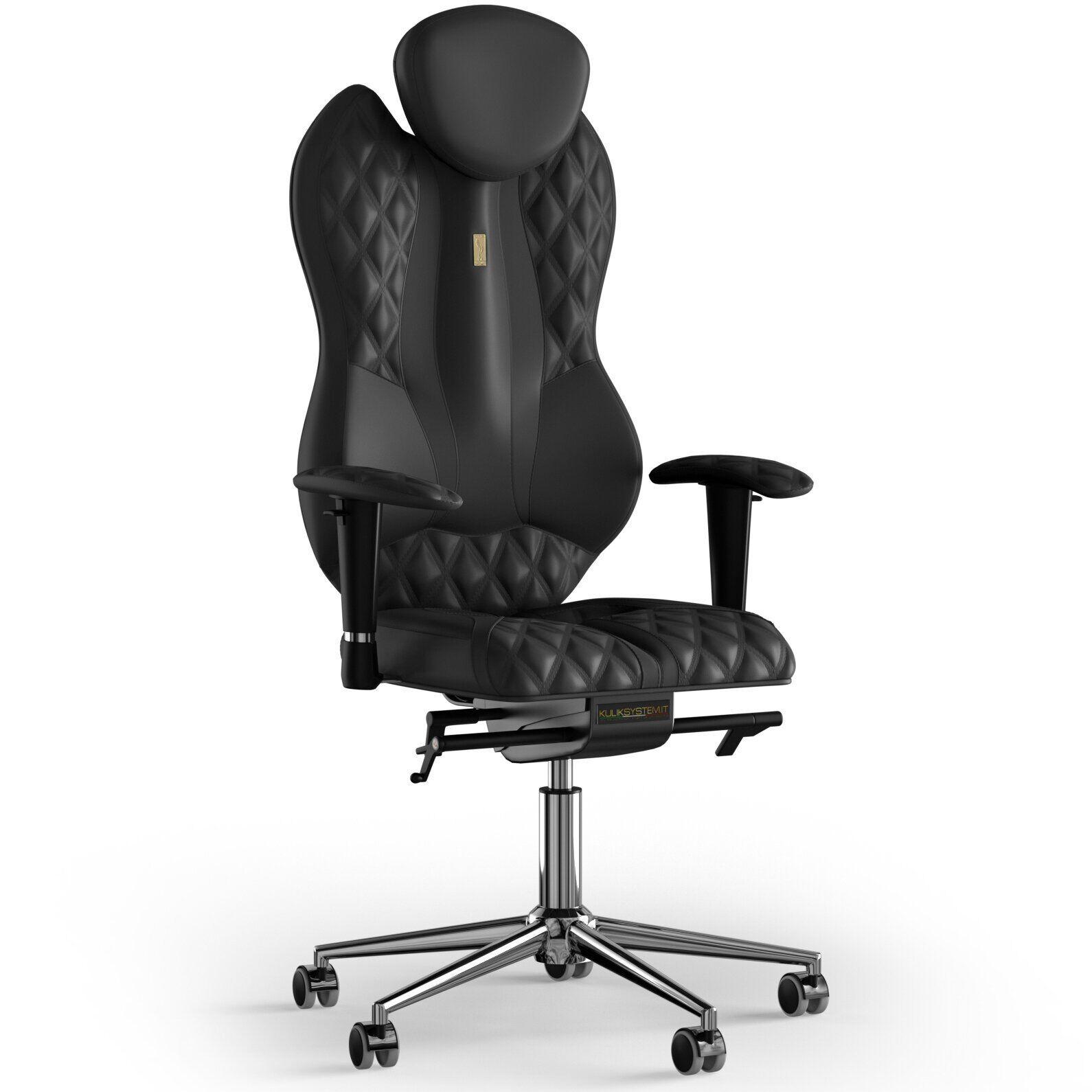 Кресло KULIK SYSTEM GRAND Экокожа с подголовником с дизайнерским швом