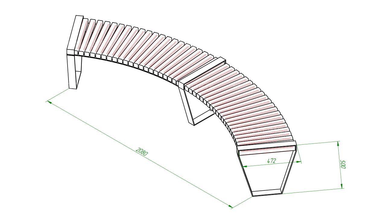 Полукруглая скамейка SCAM0045