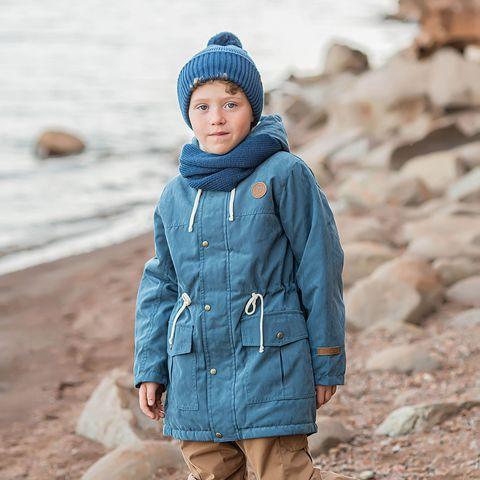 Demi-season parka with fur for teens - Denim