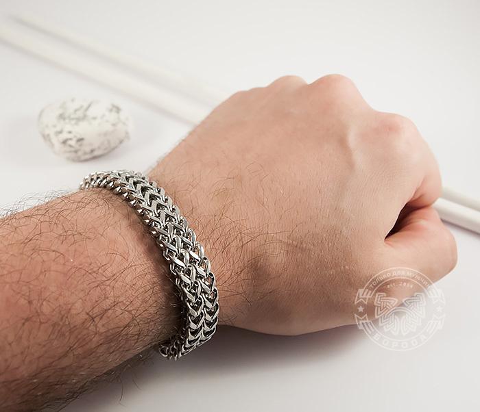 BM376 Массивный мужской браслет цепь необычного плетения (23 см) фото 08