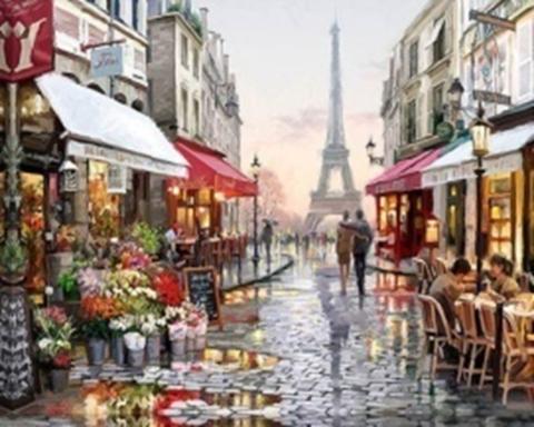 Картина раскраска по номерам 30x40 Париж после дождя (арт. KTL0007)