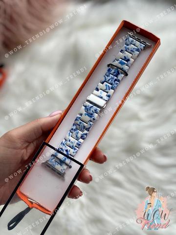Ремешок Apple watch 42/44mm Resin band /white blue/