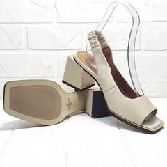 Кожаные босоножки квадратный носок Brocoli H150-9137-2234 Cream