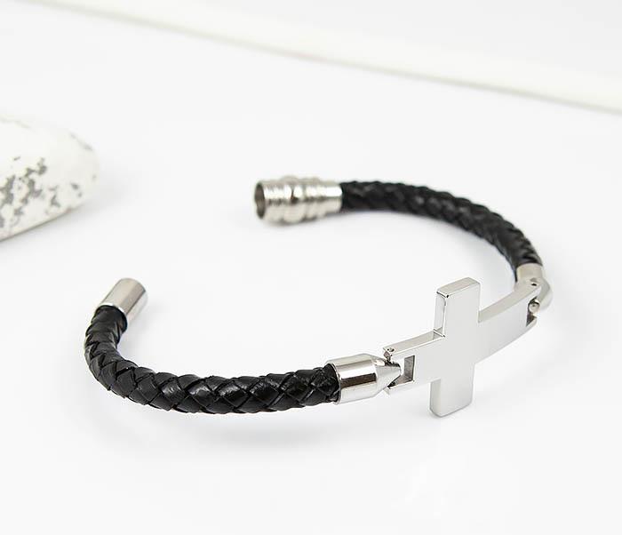 BM510-1 Кожаный браслет со стальным крестом фото 03