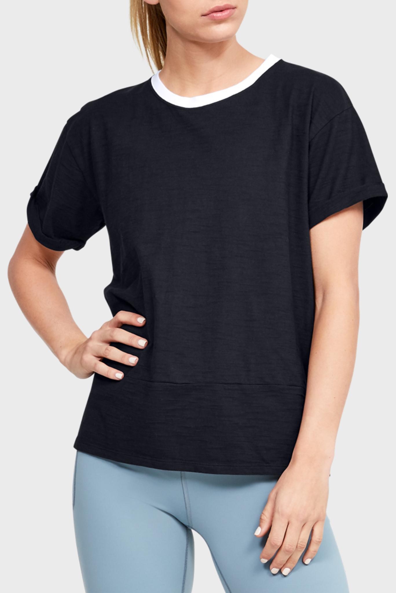 Женская черная футболка UA Charged Cotton SS Under Armour