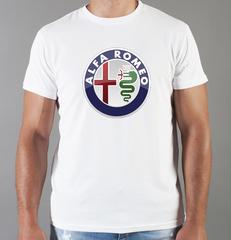 Футболка с принтом Альфа Ромео (Alfa Romeo) белая 001